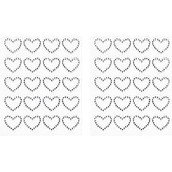 Strass-Sticker 'Herzen', 40 Stück