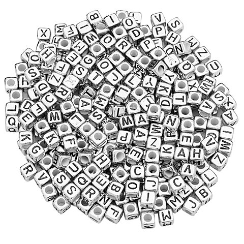 Image of Buchstabenwürfel, silber, 6 mm, 160 Stück