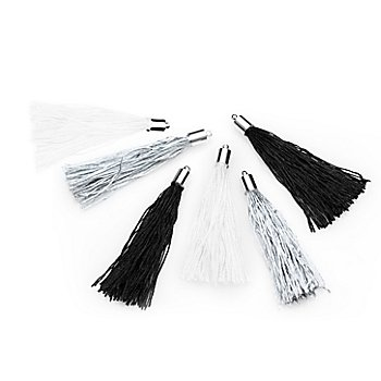 Quasten, weiß-silber-schwarz, 6 cm, 6 Stück