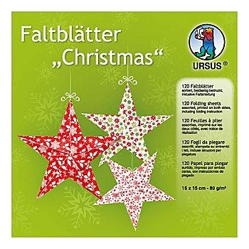 Faltblätter 'Christmas', rot-grün-weiß, 15 x 15 cm, 120 Blatt