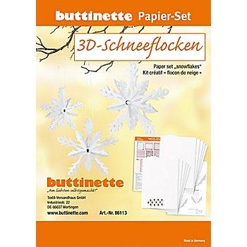 Papier-Set '3D-Schneeflocken', weiß, 6 Schneeflocken