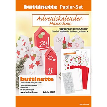 Papier-Set Adventskalenderhäuschen, rot-weiß-grün