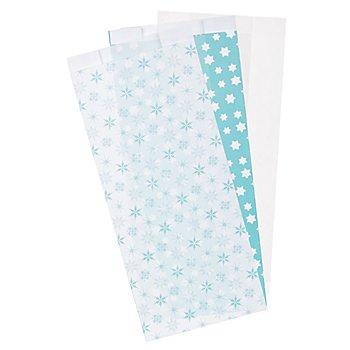 Papiertütenmix-Set 'Weihnachten', türkis-hellblau-weiß, 10 x 22 cm, 27 Stück