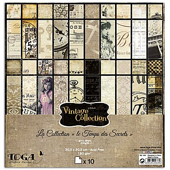 Scrapbooking-Papier 'Vintage III', 30,5 x 30,5 cm, 10 Blatt