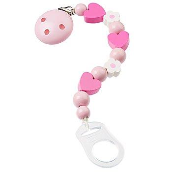 buttinette Schnullerketten-Set, rosa-pink-weiss
