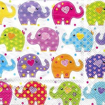 Serviettes en papier 'éléphants', 33 x 33 cm, 20 pièces