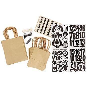 Adventskalendertüten-Set, braun-schwarz-weiß, 24 Stück
