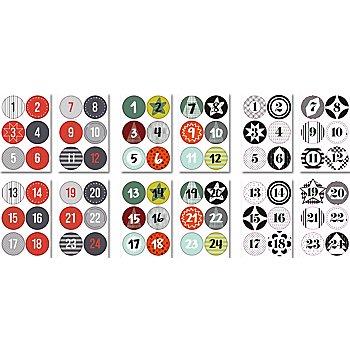 Set d'autocollants ronds 'chiffres pour calendrier de l'Avent', 72 pièces