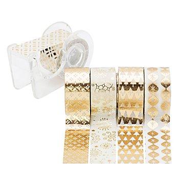 Rubans adhésifs décoratifs 'mini', or/blanc, 12 mm, 15 m
