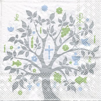 Serviettes en papier 'arbre communion', 33 x 33 cm, 20 pièces