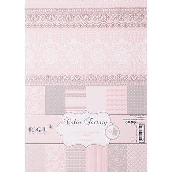 Papierset, rose-weiss-grau, 21 x 29,7 cm, 48 Blatt