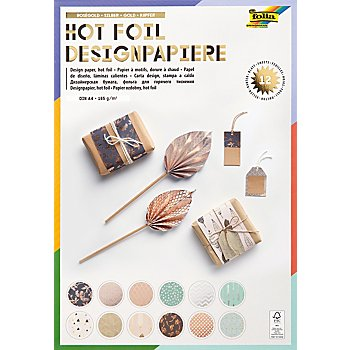 Folia Bloc de papier 'hot foil', or/argent/or rose/menthe, 21 x 29,7 cm, 12 feuilles