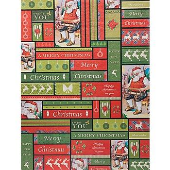 Set de papier décopatch 'Père de Noël', vert/rouge, 39 x 30 cm, 3 feuilles
