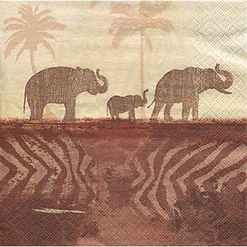 Papierserviette 'Elefanten', 33 x 33 cm, 20 Stück