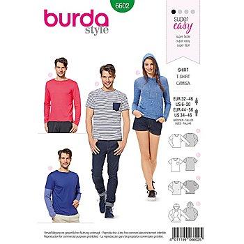 burda Patron 6602 'Shirt pour femme & homme - facile'