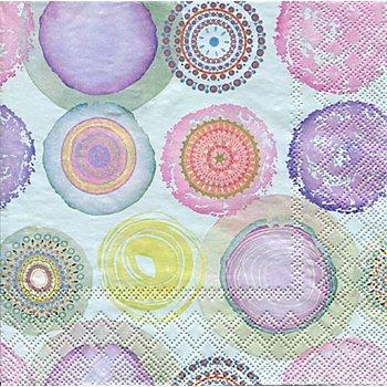 Serviettes en papier 'cercles multicolores', 33 x 33 cm, 20 pièces
