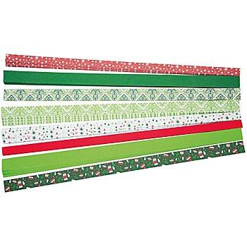 Tonpapierstreifen 'Weihnachten', rot-grün, 30 cm, 160 Stück