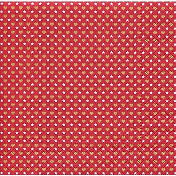 Serviettes en papier 'cœurs et étoiles', 33 x 33 cm, 20 pièces