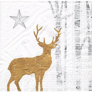 Serviettes en papier 'cerf doré', 33 x 33 cm, 20 pièces