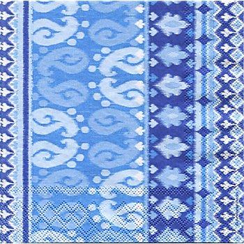 Serviettes en papier 'batik bleu', 33 x 33 cm, 20 pièces