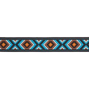 Galon tissé 'motif zig-zag', turquoise/marron, 25 mm, 3 m