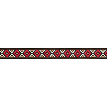 Galon tissé 'motif zig-zag', rouge/taupe, 16 mm, 3 m