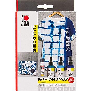 Marabu Fashion Spray - Set de peintures pour tissu 'Shibori Style', 3x 100 ml