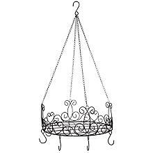 Corbeille à suspendre avec crochets, noir, 40 cm Ø