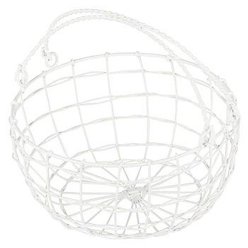 Corbeille en fil métallique avec anses, blanc