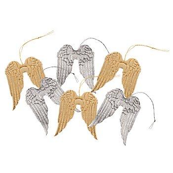 Engelsflügel, gold/silber, 6 Stück