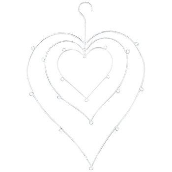 Set de coeurs en métal, blanc délavé, 3 pièces