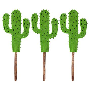 Tige avec cactus en feutrine, vert, 11,5 cm