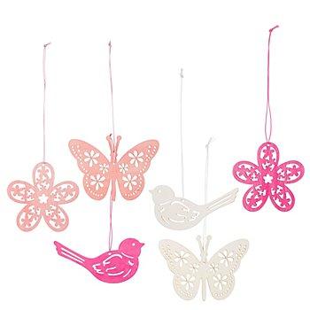 Holz-Hänger 'Frühjahr', creme/rosa/pink, 8 und 10 cm, 6 Stück