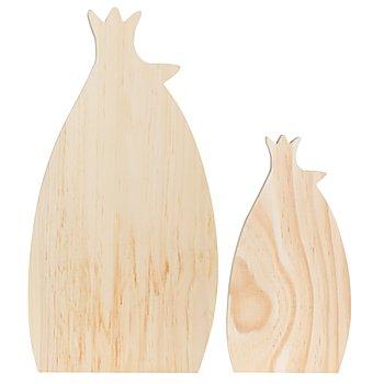 Hühner aus Holz, 2 Stück