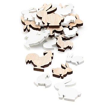 Streuteile 'Hase und Hahn', 2,5 - 4 cm, 24 Stück
