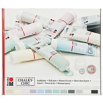 Marabu Chalky Chic Set de peintures à la craie, 12x 100 ml