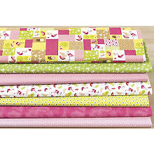 Lot de 7 coupons de tissu patchwork 'flamant', rose vif/rose/vert
