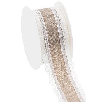 Ruban déco avec dentelle, marron clair/blanc, 36 mm, 2,5 m