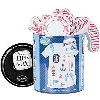 STAMPO Tampons pour textiles 'maritime', 14 pièces