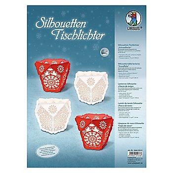 Ursus Silhouetten Tischlichter 'Schneeflocke', rot-weiss, 4 Stück