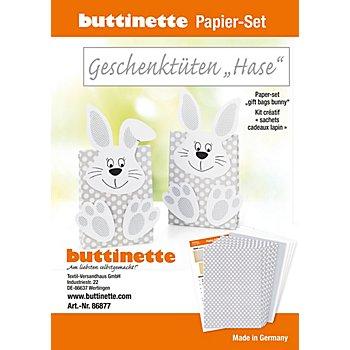 Papier-Set Geschenktüten 'Hase', hellgrau, 5 Tüten