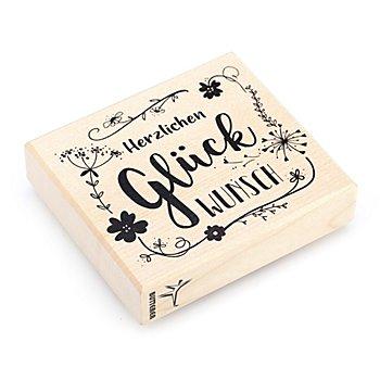 Holzstempel 'Herzlichen Glückwunsch'