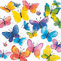 """Serviettes en papier """"papillons multicolores"""", 33 x 33 cm, 20 pièces"""