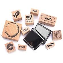 Folia Set de tampons en bois 'lettering'