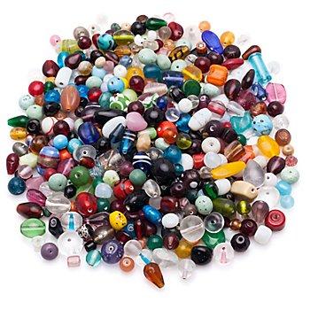 Set de perles en verre 'XXL', multicolore, 1 kg