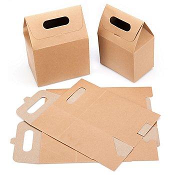 Papp-Geschenkboxen, braun-natur, 12 Stück