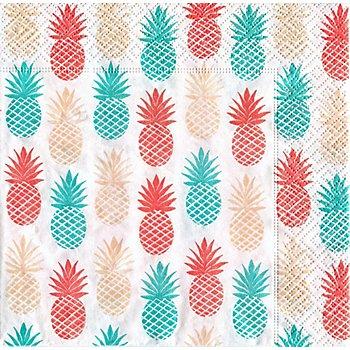 Serviettes en papier 'ananas', 33 x 33 cm, 20 pièces