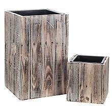 Holz-Übertöpfe, 25,5 cm und 55 cm, 2 Stück