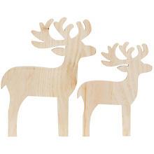 Holz-Rentiere, 2 Stück, 35,5 x 28 cm und 28 x 22 cm