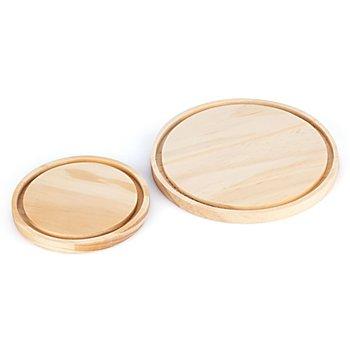 Holz-Untersetzer, 13 cm Ø und 18 cm Ø, 2 Stück